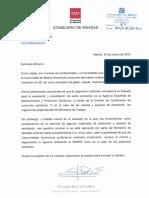 Carta del consejero de Sanidad de la Comunidad de Madrid al ministro de Sanidad