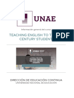 INFORMACIÓN GENERAL TEACHING ENGLISH TO THE 21st CENTURY STUDENT
