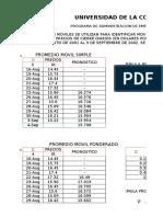 SUAVIZACION EXPONENCIAL Y REGRESION LINEAL - UNIVERSIDAD DE LA COSTA