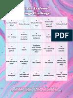 art at home bingo challenge part 1