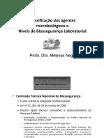 Classificação de agentes-Níveis de Biossegurança
