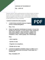 Cuestionario de Termodinámica II