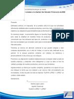 Carta de respuesta a la solicitud hecha por el cliente