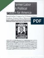 MN Farmer Labor Party Lundeen Speech 1940