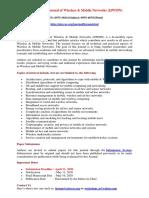 International Journal of Wireless & Mobile Networks (IJWMN)