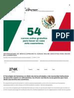Universidades de México ofrecen 54 cursos online gratuitos para hacer en cuarentena