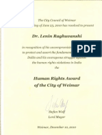 Citation of Weimar International Human Rights Prize to Dr. Lenin