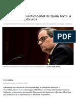 Los artículos de Quim Torra contra los españoles y el idioma español
