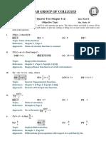 Solution Mathematics Part-II - 1st Quarter Book