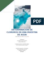 LABORATORIO #8 DETERMINACION DE CLORUROS EN UNA MUESTRA DE AGUA