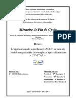 L'application de la méthode HACCP au sein de l'unité margarinerie du complexe agro-alimentaire « CEVITAL ».pdf