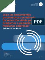 Herramientas psicometricas evaluación crediticia Pyme