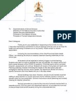 School Division Suspension Letter - March 31, 2020