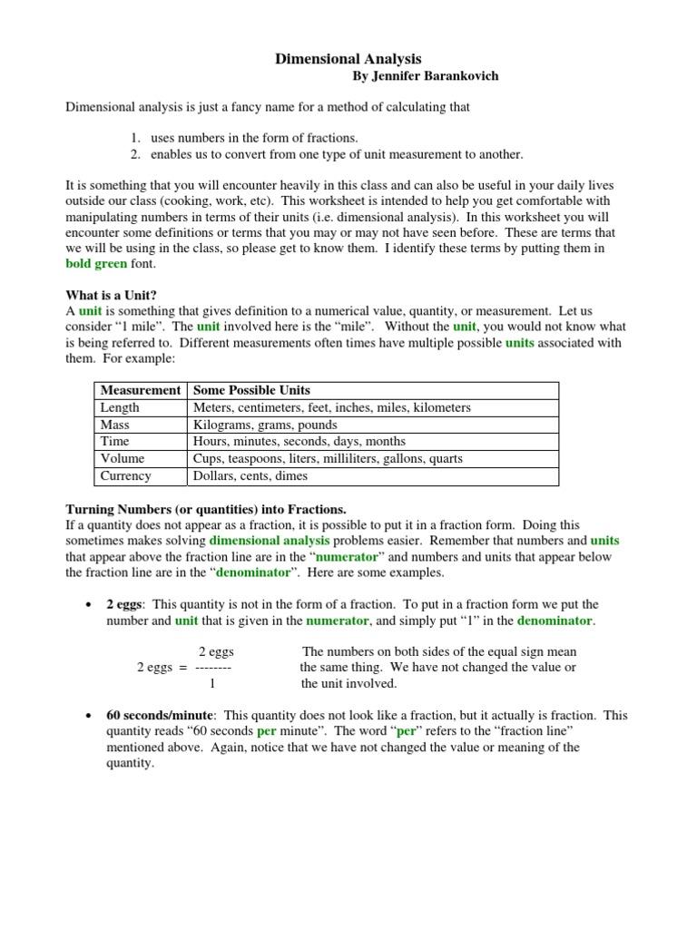 Worksheet Dimensional Analysis Problems Worksheet Worksheet Fun
