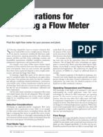 Choosing Flow Meter