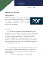 Corona Associates Capital Management, LLC - Investment Letter March 2020