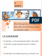 A Leader is Dealer in Hope