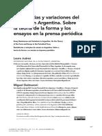 sobre el ensayo en la prensa argentina