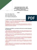 Lista 1 - Linguagem de programação