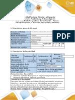 Guía de actividades y rúbrica de evaluación - Paso 2 - Psicofisiología de la Atención, Percepción y Memoria