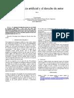 Tarea 3. La inteligencia artificial y el derecho de autor. Gonzalez Velasco