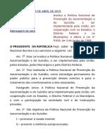 LEI Nº 13.819  DE 2019 - SUICÍDIO