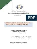 L'ENTREPRENEURIAT SOCIAL AU MAROC