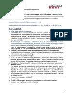 Preguntes i respostes sobre restricció activitats COVID19