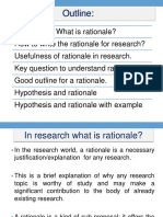 Rationale of research