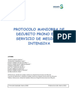 'Protocolo de Maniobra de decúbito prono en el servicio de Medicina Intensiva' del Hospital de Albacete