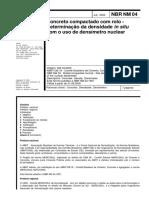 NBR NM 00004 - Concreto compactado com rolo - Determinação da densidade in situ com o uso de densímetro nuclear
