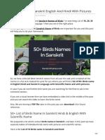 Birds Names in Sanskrit