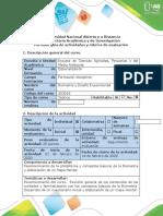 Biometría y Diseño ExperimentalGuía de actividades y rubrica de evaluación - Tarea 1 - Reconocimiento del Curso