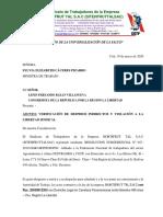 Carta de Sindicato de Hortifrut al Ministerio de Trabajo