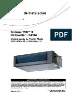 MANUAL DE INSTALACION UNIDAD OCULTA MEDIA PRESION 220V TVR-SVN09A-EM