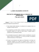 Proyecto de Ley Fondo Solidario Covid-19 - Aprobado en CSS