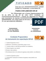 certificado treinamento NR-20