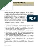 Cover Letter for LEONID AKBASHEV