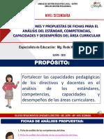 PPT ORIENTACIONES Y PROPUESTAS DE FICHAS PARA EL ANÁLISIS DE LOS ESTÁNDARES, COMPETENCIAS, CAPACIDADES Y DESEMPEÑOS