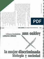 La Mujer Discriminada BiologÍa y Sociedad Oakley