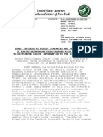 U.S. Attorney's Office Statement in Insider Trading Case