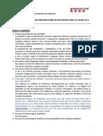 Preguntes i respostes Prot. Civil sobre restricció activitats