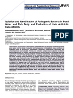 Isolation and Identification of Pathogenic Bacteria in Pond Water and Fish Body and Evaluation of their Antibiotic Susceptibility