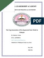 Expermantation of Developmental State in Ethiopia