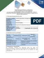 Guía de actividades y rúbrica de evaluación - Fase 3 - Planificar y Decidir Identificación de tecnologías y diseño de la solución del problema