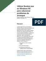 Utilizar Bootrec.exe en Windows RE para solucionar problemas de arranque
