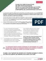 Guide des preconisations officiel à suivre sur les chantiers en temps de covid19