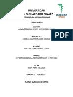 REPORTE DE LECTURA ADMINISTRACION EN AMERICA