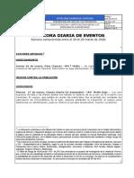 Bitácora Diaria de Eventos del 27 de marzo de 2020