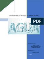 caracteristicas  del agua en estado natural
